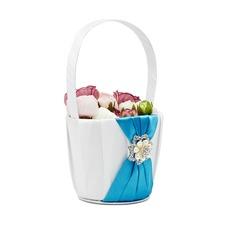 Elegant Flower Basket in Satin With Rhinestones/Faux Pearl