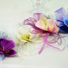 Girly Satin/Imitation Pearl/Silk Flower Wrist Corsage - Wrist Corsage