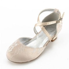 Jentas Round Toe Lukket Tå Mary Jane Silk Som Satin lav Heel Flower Girl Shoes med Rhinestone