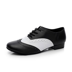 Men's Real Leather Heels Pumps Latin Ballroom Swing Practice Character Shoes Dance Shoes (053073833)