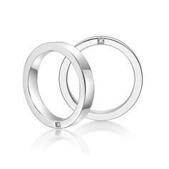 Argent sterling Zircone cubique Coupe Ronde Les anneaux du couple