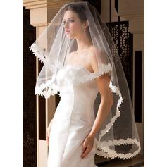 Uno capa Con Aplicación de encaje Yema del dedo velos de novia con En relieve de la tela