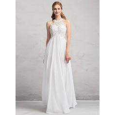 Empire Scoop Neck Floor-Length Chiffon Wedding Dress With Beading