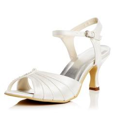 Frauen Satin Spule Absatz Absatzschuhe Sandalen mit Schnalle