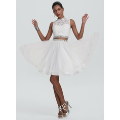 A-Line/Princess High Neck Knee-Length Tulle Homecoming Dress With Beading Sequins (022120496)