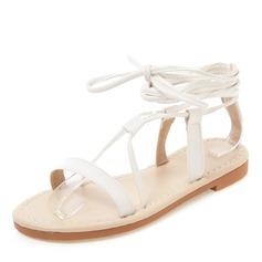 Vrouwen Kunstleer Flat Heel Sandalen Flats Peep Toe Slingbacks met Vastrijgen schoenen