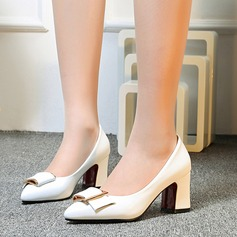 Donna Pelle verniciata Tacco spesso Stiletto Punta chiusa con Fibbia scarpe