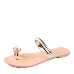 Женщины кожа Плоский каблук Сандалии На плокой подошве Босоножки Вьетнамки с горный хрусталь обувь