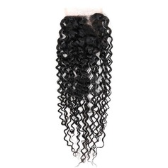 """4""""*4"""" 4A Kinky Curly les cheveux humains Fermeture (Vendu en une seule pièce)"""