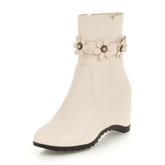 Women's Leatherette Wedge Heel Boots Closed Toe Wedges With Flower