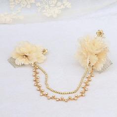 Elegant Satin/Tulle/Metal Combs & Barrettes/Forehead Jewelry