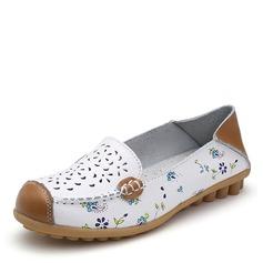 Kvinner Lær Flat Hæl Flate sko Lukket Tå med Hul ut sko