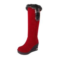 Suède Talon compensé Bottes hautes Bottes neige avec Fourrure chaussures