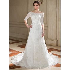 A-Line/Princess Off-the-Shoulder Court Train Tulle Wedding Dress With Lace Beading Sequins