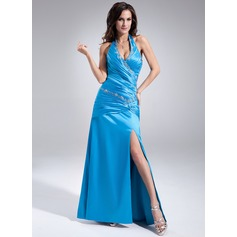 A-Line/Princess Halter Floor-Length Charmeuse Prom Dress With Ruffle Beading Split Front