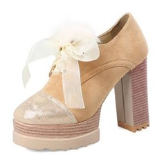 Frauen Veloursleder Stämmiger Absatz Absatzschuhe Plateauschuh Geschlossene Zehe mit Satin Schnürsenkel Pelz Zweiteiliger Stoff Schuhe