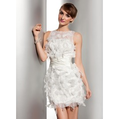 Vestido tubo Escote redondo Corto/Mini Satén Organdí Vestido de novia con Volantes Flores