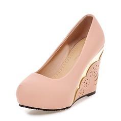 Vrouwen PU Wedge Heel Pumps Plateau Closed Toe Wedges met Juwelen Hak schoenen