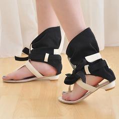 De mujer Tacón plano Sandalias Encaje con Bowknot Agujereado zapatos