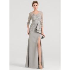 Sheath/Column V-neck Floor-Length Stretch Crepe Evening Dress With Split Front