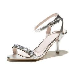 Couro Salto carretel Sandálias Sapatos abertos com Strass sapatos