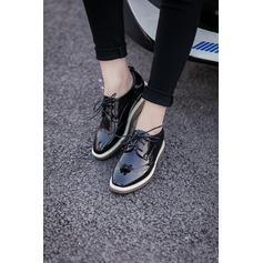Donna Pelle microfibra Zeppe Punta chiusa Zeppe con Allacciato scarpe