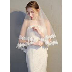 2 couches Bord en dentelle Voile de mariée longueur bout des doigts