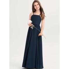 A-Line Square Neckline Floor-Length Chiffon Junior Bridesmaid Dress With Bow(s)