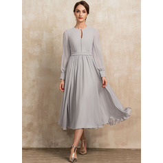 A-line Round Neck Long Sleeves Midi Elegant Dresses (293247779)