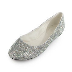Patent Leather Flat Heel Flats Closed Toe met Strass schoenen (086026679)