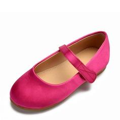 Girl's Ronde neus Closed Toe Satijn Flat Heel Flats Bloemenmeisje schoenen met Velcro