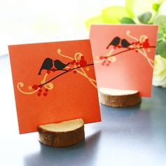 """Happy Wedding""/""Happy Time"" Wooden Place Card Holders"