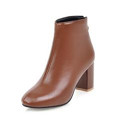 Femmes PU Talon bottier Escarpins Bottines avec Zip chaussures