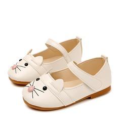 Fille de Bout fermé similicuir talon plat Chaussures plates Chaussures de fille de fleur avec Velcro