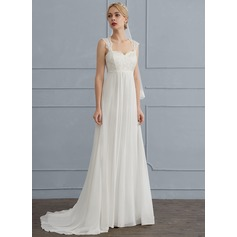 A-Line/Princess Square Neckline Sweep Train Chiffon Wedding Dress
