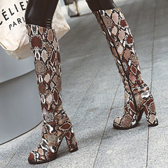 Women's PU Chunky Heel Knee High Boots With Buckle Animal Print Zipper shoes