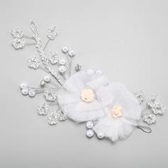 Bonito Liga/Falso pérola/Flor de seda Flores & penas