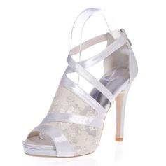 Kvinnor Spetsar Satäng Stilettklack Peep Toe Plattform Sandaler med Zipper Split gemensamma