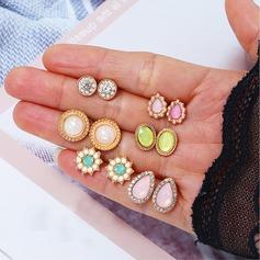 Stylish Alloy Rhinestones Resin Women's Fashion Earrings (Set of 6)