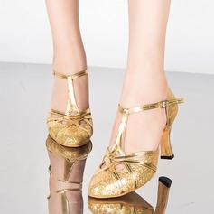 Femmes Pailletes scintillantes Talons Sandales Salle de bal avec Boucle Ouvertes Chaussures de danse
