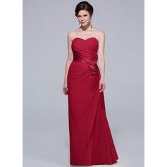 Sheath/Column Sweetheart Floor-Length Chiffon Bridesmaid Dress With Ruffle