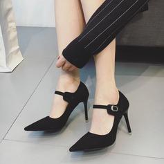 Donna Camoscio Tacco a spillo Stiletto Punta chiusa con Fibbia scarpe (085112051)