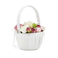 Puro Cesta de flores en Satén con Diamantes de imitación