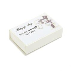Persoonlijke Bride en Bruidegom harde kaart papier Gepersonaliseerde Luciferdoosjes (Set van 12)