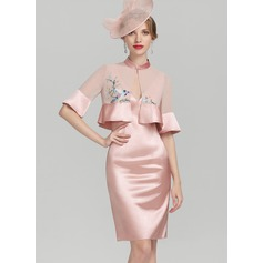 Sheath/Column V-neck Knee-Length Charmeuse Mother of the Bride Dress