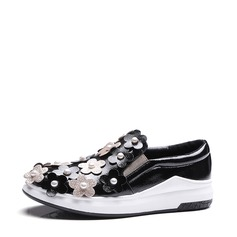 Women's Leatherette Flat Heel Flats With Imitation Pearl Satin Flower shoes