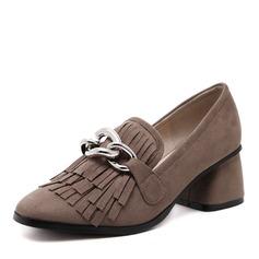 Vrouwen Suede Chunky Heel Pumps Closed Toe met Keten schoenen