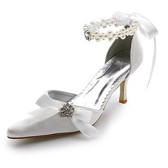 Women's Satin Spool Heel Closed Toe Pumps With Imitation Pearl Rhinestone Ribbon Tie (047004903)