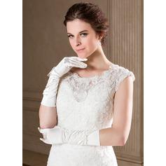 Elastische Satin Ellenbogen Länge Braut Handschuhe