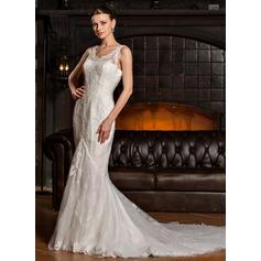 Раструб/Платье-русалка V-образный Церковный шлейф Тюль кружева Свадебные Платье